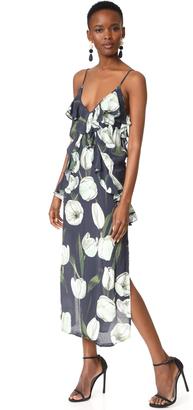 MLM LABEL Ruffle Slip Midi Dress $220 thestylecure.com