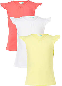 John Lewis Girls' Frill Sleeve T-Shirts, Pack of 3, Multi