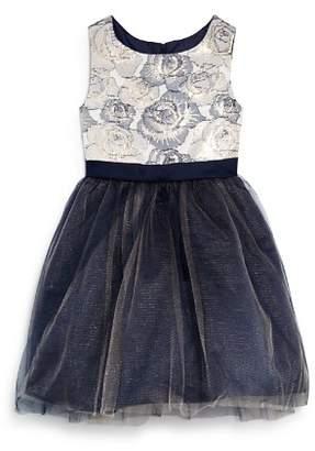 Us Angels Girls' Floral Brocade Tutu Dress - Little Kid