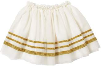 Billieblush Glittered Striped Stretch Tulle Skirt