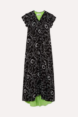 Balenciaga Printed Silk-crepe Midi Dress - Black