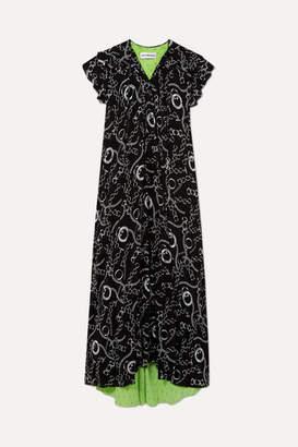Printed Silk-crepe Midi Dress - Black Balenciaga Cheap Sale Purchase Discount Visa Payment Cheap Sale Best Place kM8VB