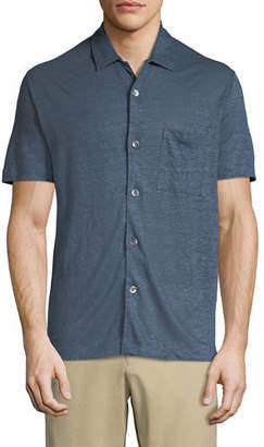 Theory Men's Storm Linen Short-Sleeve Pocket Shirt