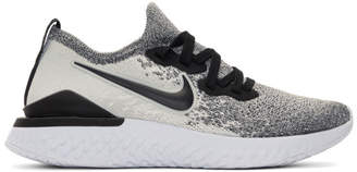 Nike White and Black Epic React Flyknit 2 Sneakers
