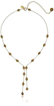 Miguel Ases Dainty Swarovski Uneven Split Y-Shaped Necklace