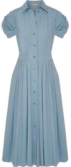 MICHAEL Michael KorsMichael Kors Collection - Pleated Cotton-blend Poplin Midi Dress - Sky blue