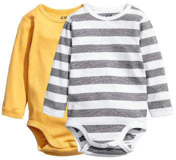 H&M - 2-pack Long-sleeved Bodysuits - Yellow