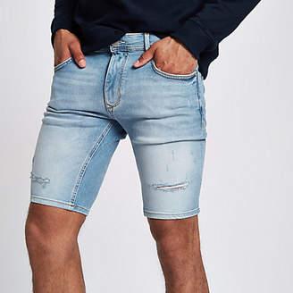 River Island Mens Light Blue skinny denim ripped shorts