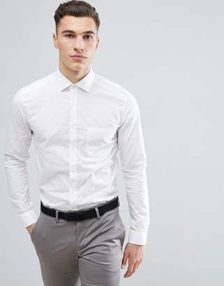 Reiss Smart Shirt In White Poplin