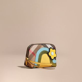 Burberry Small House Check Pouch with Leather and Snakeskin Appliqué $250 thestylecure.com