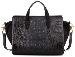 Alexander Wang Pelican Gold Crocodile-Embossed Satchel Bag, Black