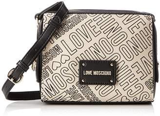 Love Moschino Borsa Canvas Natu+pu Nero-logo Nero, Women's Baguette,7x16x20 cm (B x H T)