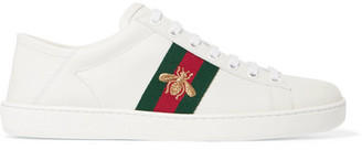 Gucci Ace Embroidered Leather Collapsible-heel Sneakers - White