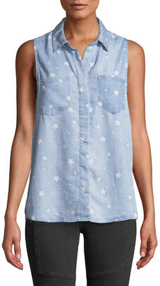 Velvet Heart Star-Print Button-Front Chambray Tank