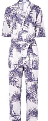 Paradised - Oversized Printed Voile Jumpsuit - Dark purple