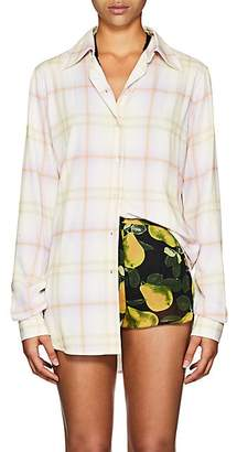 Marc Jacobs Women's Plaid Plain-Weave Blouse - Yellow