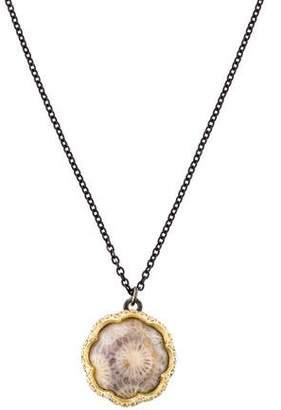 Armenta Fossilized Coral & Diamond Midnight Scalloped Necklace