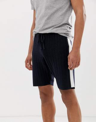 Asos Design DESIGN knitted textured shorts with side stripes in navy