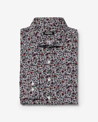 Express Slim Rose Floral Print Cotton Dress Shirt