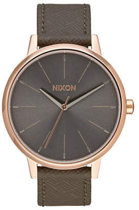 Nixon Analog Kensington Goldtone Leather Strap Watch