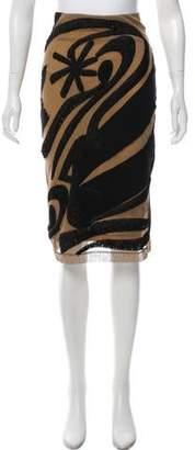 Donna Karan Embroidered Knee-Length Skirt