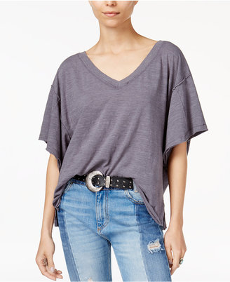 Free People Cotton Distressed V-Neck T-Shirt $58 thestylecure.com