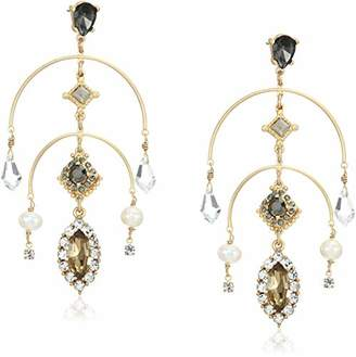 Badgley Mischka Pearl and Stone Crystal Mobile Drop Earrings