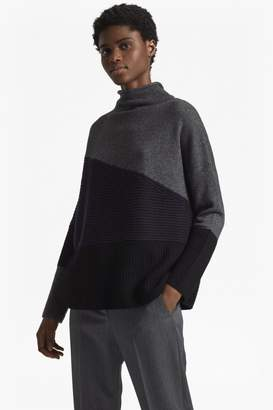 French Connection Patchwork Knits High Neck Jumper