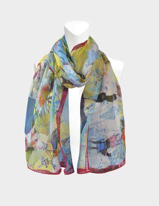 Christian Lacroix 70X180 Les Filles En Fleur Scarf in Yellow Silk Mussola