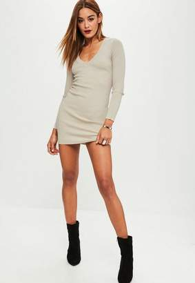 Missguided Nude Plunge Bodycon Sweater Mini Dress