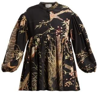 Theresa By Walid Cherry Blossom Print Silk Top - Womens - Black Print