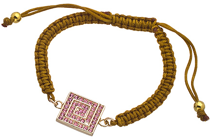 Athena Designs Gold Pink Crystal and Gold Macrame Bracelet