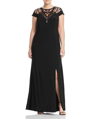 Adrianna Papell Plus Sequin-Illusion Cap Sleeve Dress
