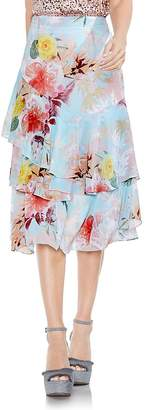 Vince Camuto Faded Blooms Tiered Ruffle Skirt