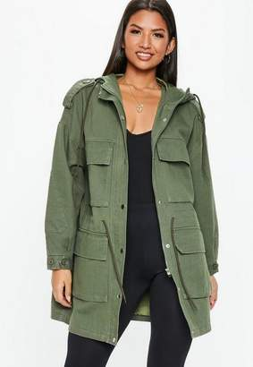 Missguided Khaki Oversized Utility Jacket