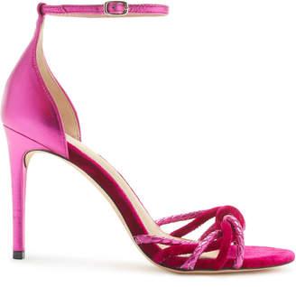 Rachel Zoe Aubrey Metallic Leather and Velvet Heeled Sandals