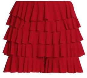 Norma Kamali Tiered Crepe Shorts