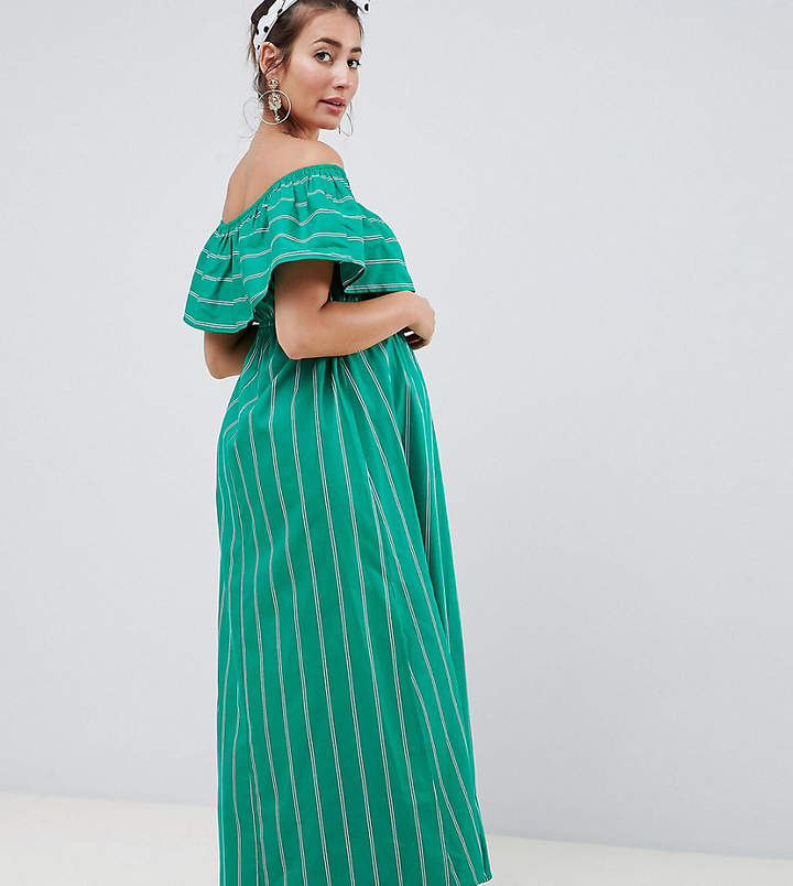 DESIGN Maternity Bandeau Maxi Dress In Stripe