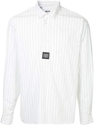 MSGM pinstripe half-button shirt
