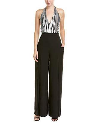 BCBGMAXAZRIA Women's Halter Wide Leg Jumpsuit with Slits