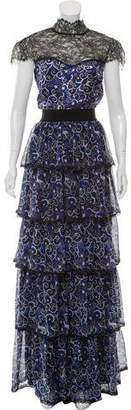 Alice + Olivia Silk Lace-Accented Dress