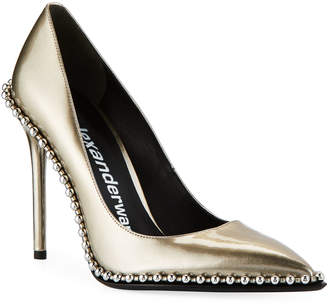 aea383430cd Alexander Wang Rie Studded Liquid Patent Leather Pumps