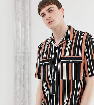 Noak shirt in wide stripe in seersucker