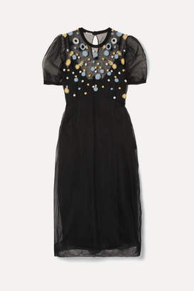 Miu Miu Embroidered Tulle Midi Dress - Black