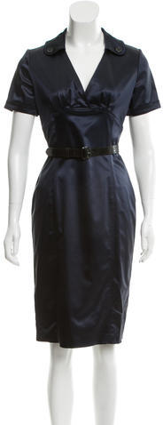 Burberry Burberry London Belted Satin Dress