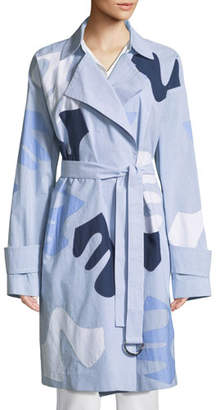 Lafayette 148 New York Laurita Sartorial Stripe Coat with Appliques