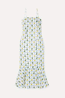 STAUD Lychee Printed Linen Midi Dress - Ecru