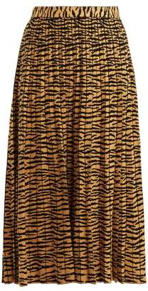Proenza Schouler Tiger Jacquard Pleated Midi Skirt - Womens - Gold Multi