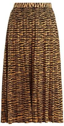 Tiger Jacquard Pleated Midi Skirt - Womens - Gold Multi