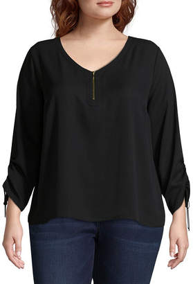 WORTHINGTON Worthington Cinched Sleeve Zipper Front Solid Woven Blouse